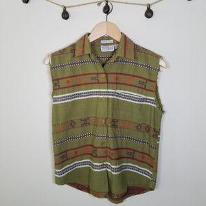 Angelique Tribal Vest Tank Top Guatemalan Fabric S